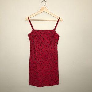 Vintage 90s Square Neck Red Mini Dress